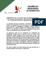 Nota de Prensa - Alegaciones Presupuesto