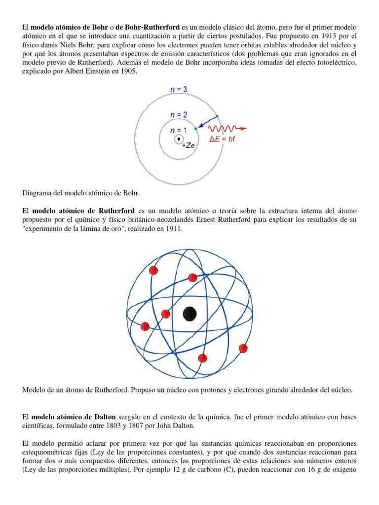 El Modelo Atómico De Bohr O De Bohrdocx