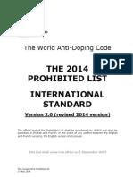 WADA Revised 2014 Prohibited List En