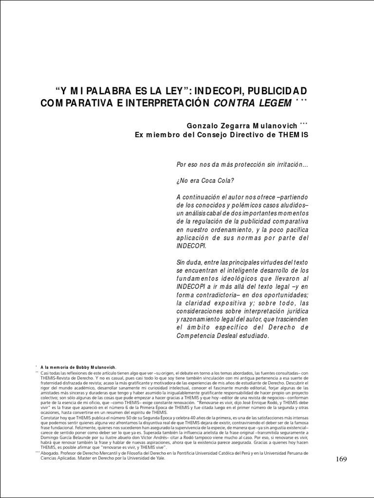 ZEGARRA MULANOVICH -Publicidad Comparativa