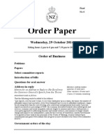 Order Paper for New Zealand Parliament sitting Wednesday 29 October 2014
