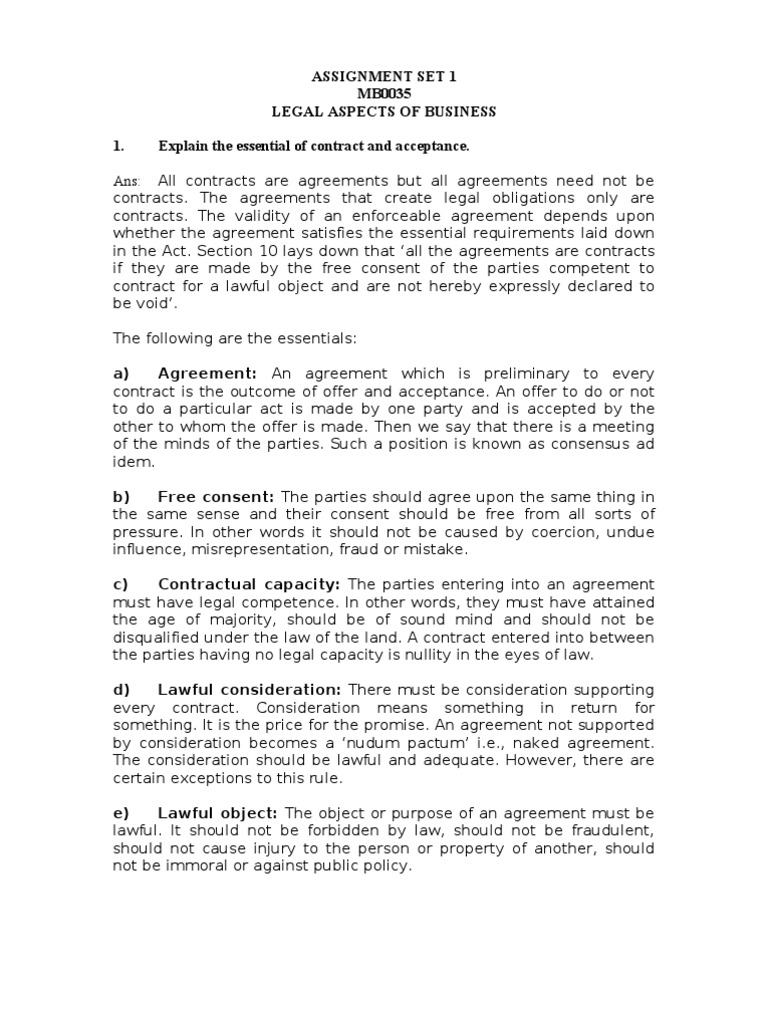 Assignment Set 1 Mb0035 Legal Aspects Of Business 1 Explain