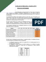 Olimpiada Mundial de Matematicas 2014 - Informe