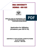 Application for Affiliation 2014-2015