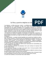 En 2010 le partenaire du CCFD sera le Pérou. Coopératives (indigenes)