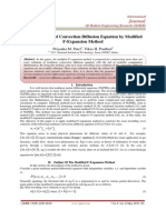 Exact Solutions of Convection Diffusion Equation by Modified  F-Expansion Method
