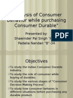"""Analysis of Consumer Behavior While Purchasing Consumer Durable"""