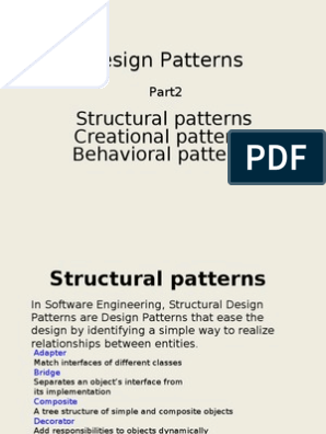 Design Patterns Structural Patterns Creational Patterns Behavioral Patterns Class Computer Programming Object Computer Science