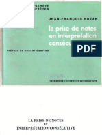 J.-f. ROZAN - La Prise de Notes en Interprétation Consecutive