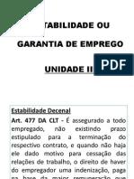 Unidade III - Estabilidade Ou Garantia de Emprego