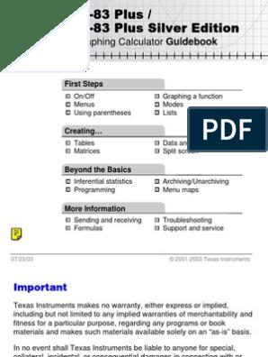TI 84 Plus Graphing Calculator Guidebook | Menu (Computing