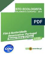 Manifesto PEV Europeias2014