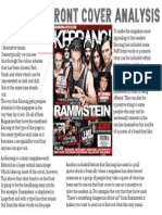 Kerrang Front Cover Magazine Analysis