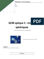 QCM Optique 3 Miroirs Spheriques