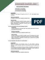 especificación técnica sanitarias