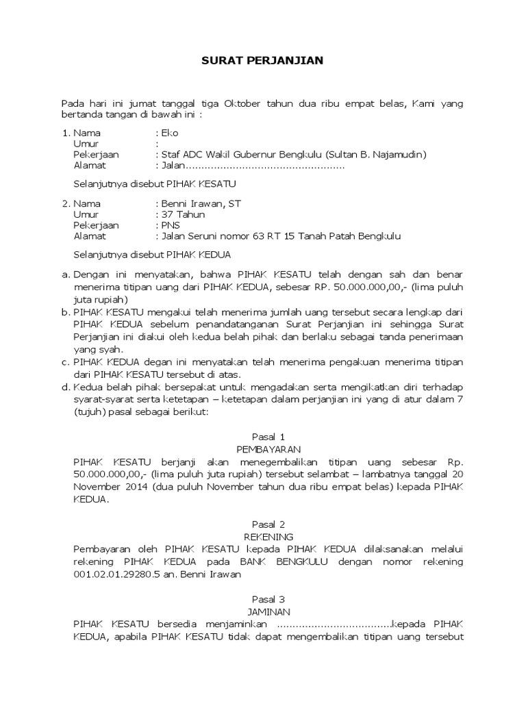 Surat Perjanjian Hutang Piutang Docx