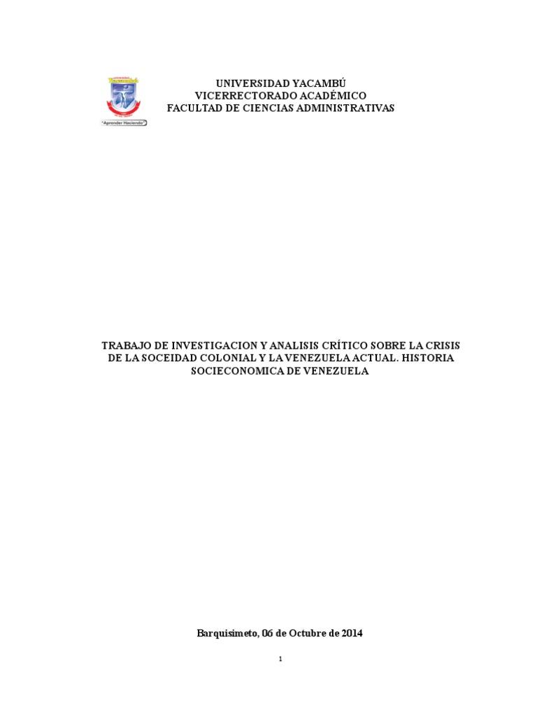 Trabajo de Investigacion y Analisis Crítico Sobre La Crisis de La ...