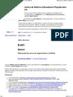 Edulcorante E-421 - Edulcorante Alimentario - Aditivo _ E-Aditivos