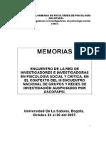 Memorias de Crítica Social Bogotá