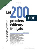 Les 200 premiers éditeurs français