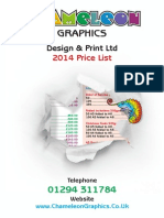 Chameleon Printing Price List