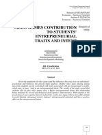 Video Games Contribution to Students' Entrepreneurial Traits and Intent