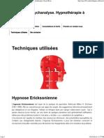 Techniques Utilisées - Hypnose Et Psychanalyse