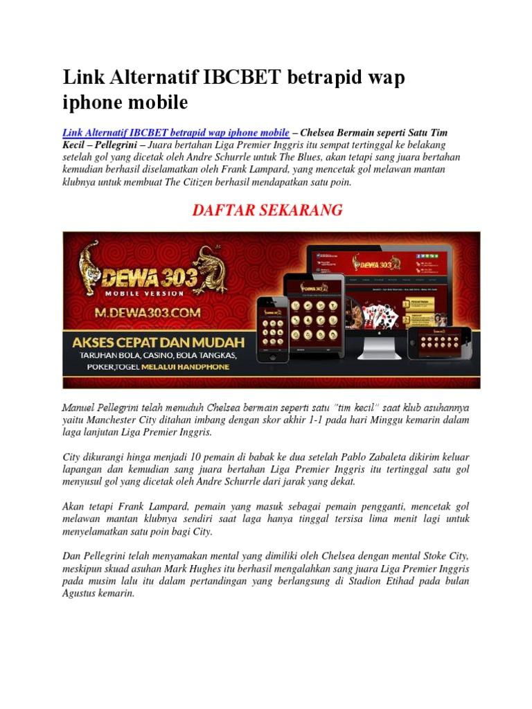 Link Alternatif Ibcbet Betrapid Wap Iphone Mobile