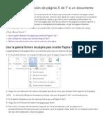 Agregar La Numeración de Página X de Y a Un Documento - Word 2013