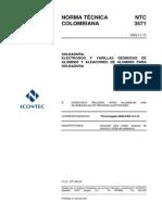 NTC 3571 Electrodos desnudos y varillas para soldadura de aluminio y sus aleaciones.pdf