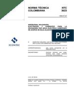 NTC 3623 Metal de aporte para soldadura de aceros de baja aleación por arco eléctrico con gas de protección..pdf