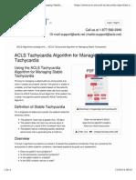 ACLS Tachycardia Algorithm for Managing Stable Tachycardia