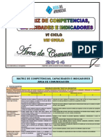Matriz Competencias Capacidades Indicadores 2014 para el área de Comunicación