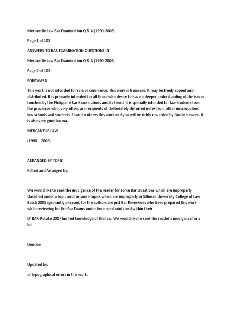 Mercantile Law Bar Examination Q A Mortgage Law Foreclosure