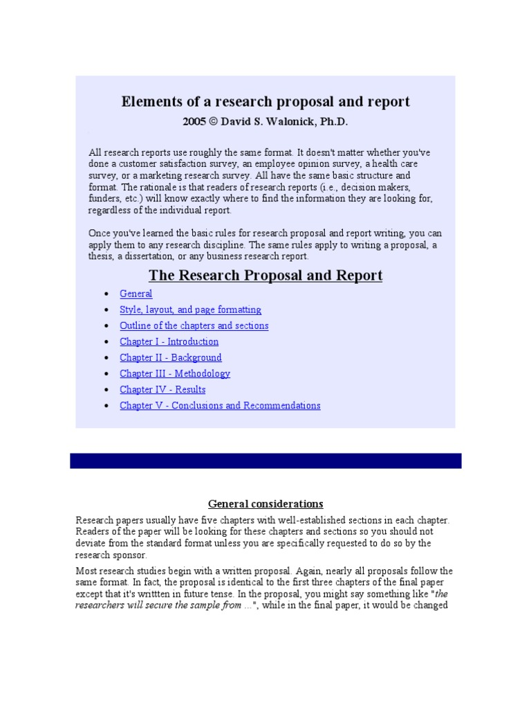 elements of a research proposal and report walonick