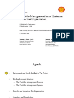 Portfolio Management in an Upstream Oil & Gas Organization