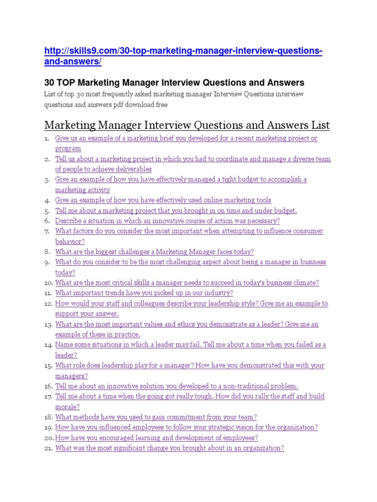 marketing manager interview questions and answersdocx marketing leadership