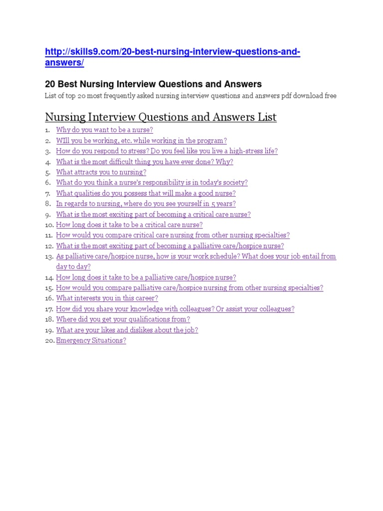 nursing interview questions and answers - Nursing Interview Questions And Answers