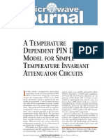 A Temperature Dependent Pin Diode Model for Simple Temperature Invariant Attenuator Circuits