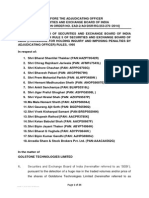 Adjudication Order against 18 entities in the matter of Goldstone Technologies Ltd.