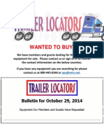 Wanted to Buy Bulletin - October 29, 2014
