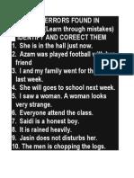 Common Errors Found in Paper