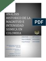Analisis Historico de La Magnitud e Intensidad Sismica en Colombia
