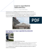 7 Presas Con Mayor Capacidad de Producción Hidroeléctrica