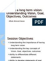 Understanding Vision, Goal, Objectives and Outcomes