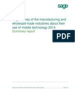 Sage Survey of Manufacturer and Wholesale Trade Usage of Mobile Technology