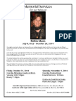 Memorial Service Schedule for Robin Mann, Oct. 31-Nov. 1, 2014