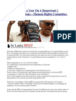 Report Within a Year on 4 [Important ] Recommendations – Human Rights Committee to Sri Lanka