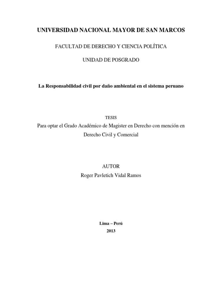 tesis sobre reparacion civil por daño ambiental