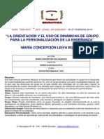 La Orientación y El Uso de Dinámicas de Grupo Para La Personalización de La Enseñanza.